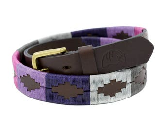 Embroidered Argentinian steer leather belt, traditional gaucho style Argentinian belt,Idea gift for HER