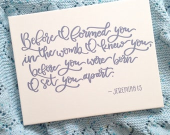 Handlettered Jeremiah Bible Verse for Nursery