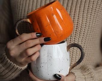 PRE-ORDER, Pumpkin Shaped Mug, Halloween Cup, White Ceramic Mug, Pumpkin Decor, Fall Gift, Halloween Decor, Tableware Fall, Mug Handmade