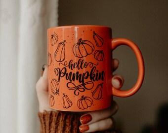 Limited Offer, Pumpkin Print Mug, Halloween Cup, White Ceramic Mug, Pumpkin Decor, Halloween Decor, Tableware Fall, Fall Pottery Mug