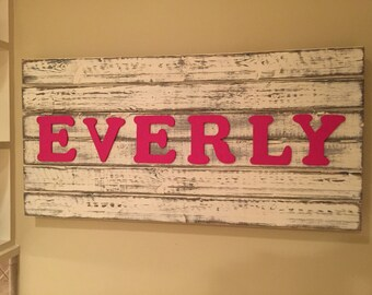 Personalized Pallet Wood Name Sign, name sign, custom name sign, free shipping