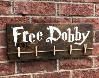 Free Dobby Wood Sign / Dobby Harry Potter House Elf / Laundry Room Sock Hanger / Painted Sign / Donate Single Socks / Lost Socks / S.P.E.W.