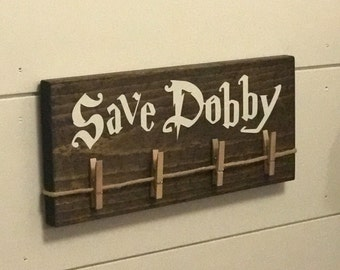 Save Dobby Wood Sign, Laundry Room Sock Hanger, Free Dobby, Harry Potter House Elf, Single Socks, Lost Socks