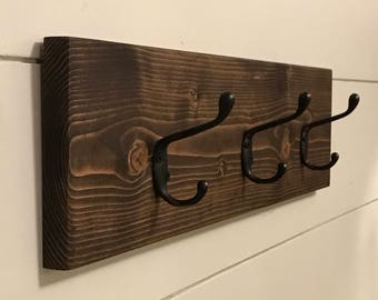Rustic Wooden Coat Rack / Wood Wall Hooks / Entryway Storage, Wall Coat Hook Rack / Towel Rack / Towel Hooks /