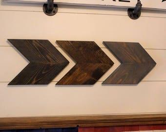 Wood Chevron Arrows /  Set of 3 Wood Chevrons / Rustic Chevron Arrows / Arrow Wall Art / Rustic Nursery / Rustic Arrow / Fixer Upper Decor