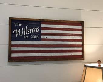Personalized Barn Wood Flag