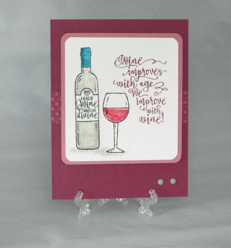 Handmade Wine improves with Age any occasion card get well girls night We improve with Wine birthday thank you