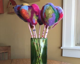 Hand Felted Hearts for Valentines Day Bouquet