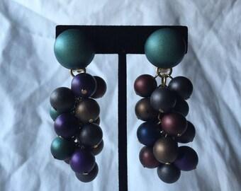 Vintage Purple Ball Cluster Earrings