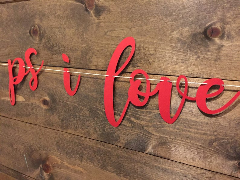 PS I Love You Garland Valentines Day Decorations Engagement Banner | PS I Love You Banner I Love You Banner Photo Prop