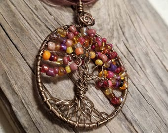 Fall Tree of Life on Ribbon Necklace