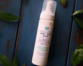 Hand + Body Foaming Wash - Liquid Castile Soap/Natural Foaming/Sensitive Skin/Scented with Essential Oil/Moisturising/Help dry skin/Eczema