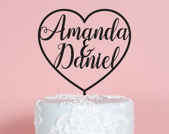 Heart with Names Wedding Cake Topper