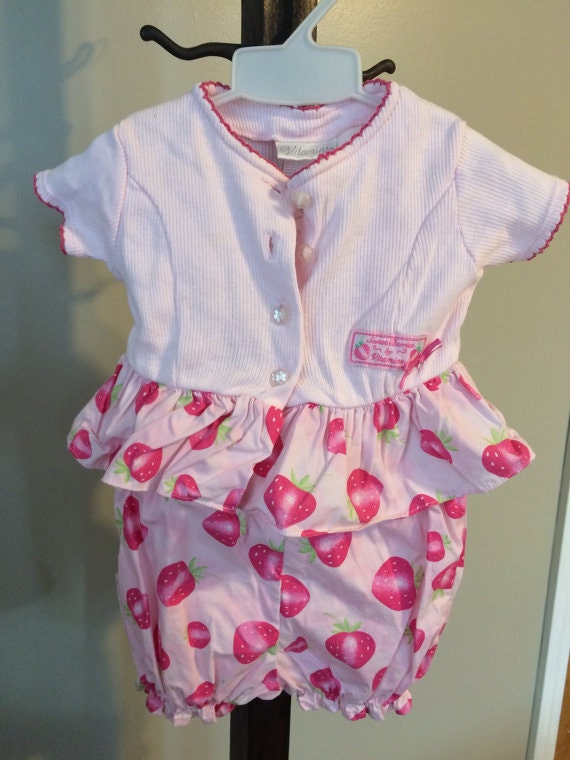 7d755f11cb52 Vintage Baby Girl Pink Playsuit Strawberries 2 Piece Pants