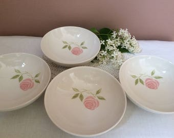 Vintage Franciscan Pink-A-Dilly Whitestone Ware Set of 4 Dessert Dishes/ Berry Bowls, Fruit Bowls, Shabby, Pink Stenciled Rose, Japan, 1959