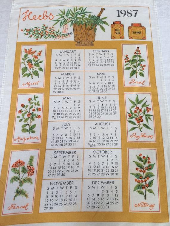 Vintage 1987 Herbs Calendar Towel Vintage Tea Towel Herbs Etsy