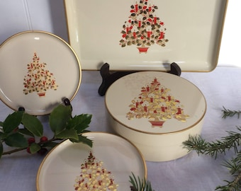 Vintage Otagiri Lacquerware Coaster/Tray Set, Boxed Set 6 Coasters and Tray, Red & Gold Christmas Tree, JAPAN