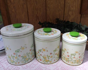 Vintage Canister Set, Spring Green Strawberry Floral, Nesting Metal Canisters, Shabby Retro 1970's, Kitchen Storage, Craft Room Containers