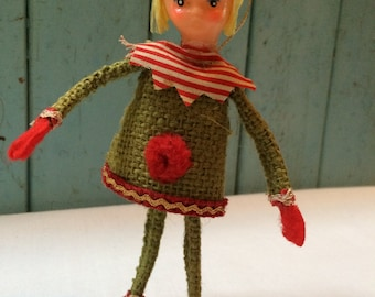 Vintage Girl Elf/Pixie, Burlap and Wire Christmas Elf Ornament, Red & Green, Japan, 1950's