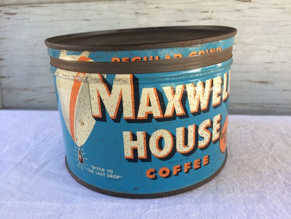 Vintage Maxwell House Coffee Tin One Pound Can Good To The Last Drop Blue And Orange Mid Century
