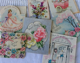 Vintage Supply Lot of 7 Used Bridal Shower Cards,Collage Scrapbooking Journaling Tag Making, Shabby Chic,1940's