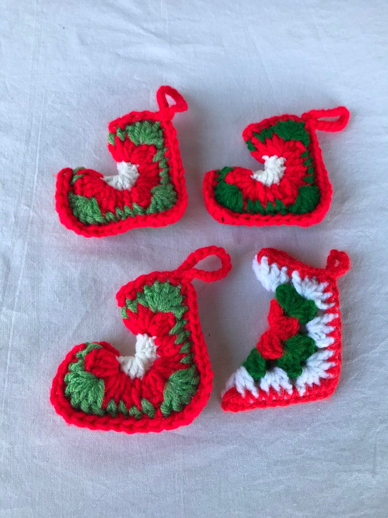 Vintage Set of 4 Red Green and White Crocheted Stocking Ornaments Hand Crocheted Ornaments Handmade