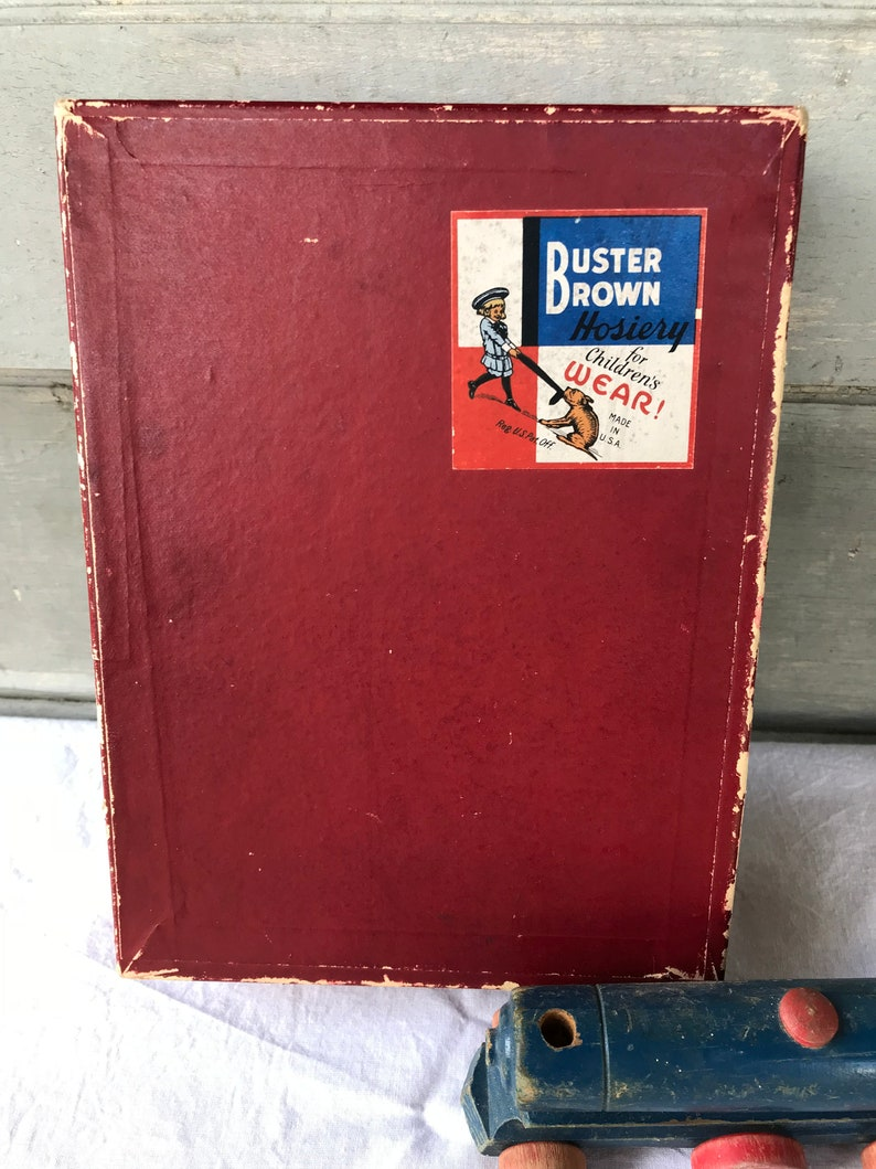 Vintage Buster Brown Hosiery Box, Sock Box, Buster Brown Advertising,  Advertisement, BOX ONLY, 1920's-1930's