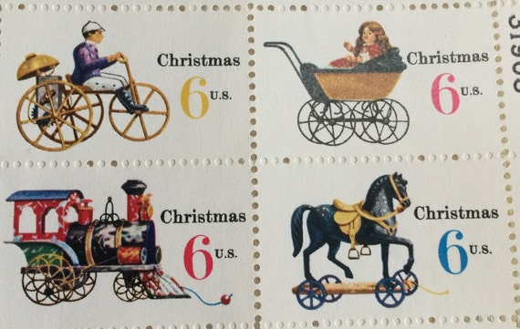Charming Old World Christmas Toys Stamps Sheet Of 50 Vintage