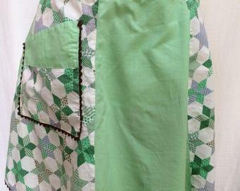 Green and White Handmade Farmhouse Apron, Ric Rac Trim, 1950's-1960's