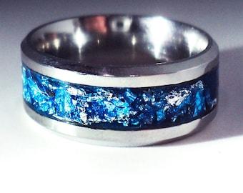 Engraved ring men Engraved ring women  Engraved ring stainless steel Blue resin ring