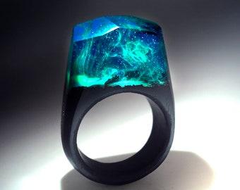 Wood ring  Wood resin ring for women & men Secret world inside wooden ring Glow ring