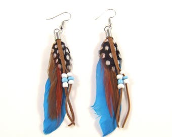 Feather Earrings / Bohemian Earrings / Tribal Earrings / Boho Earrings / Dangle Earrings / Drop Earrings / Hook Earrings / Gypsy Style