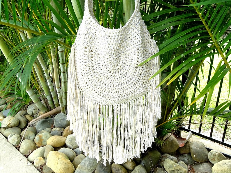 95c2909608 Crochet Tassel Bag Large Boho Fringe Bag Boho Beach Bag