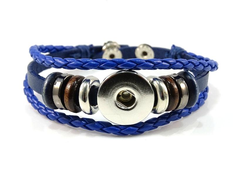 Blue Leather Rhinestone 18mm 20mm Snap Charm Bracelet For Ginger Snaps