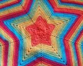 Crochet Striped Rainbow Star Blanket, Rainbow Star Baby Blanket, Rainbow Throw, Rainbow Afghan
