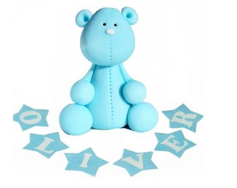 Blue Bear Baby Boy edible cake toppers personalised birthday baby shower christening cake decoration