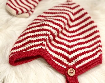 Hand Knit Baby Pixie Hat   Candy Cane