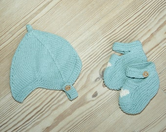 Hand Knit Baby Pixie Hat   Duck Egg Blue