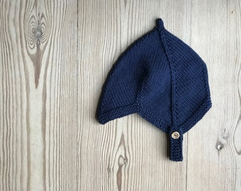 Hand Knit Baby Pixie Hat   Blueberry