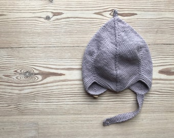 Hand Knit Baby Pixie Hat   Dove Grey
