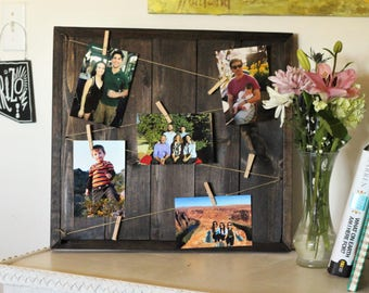 Photo Display Board, Memory Board, Clothespin Picture Board, Wooden frame