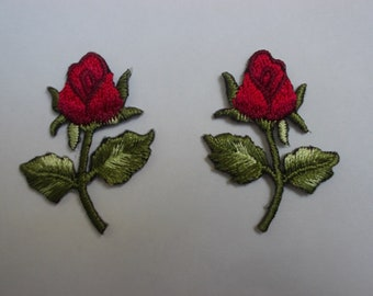 "climbing rose Sew on Iron On patch 3/"" x 1.5/"""