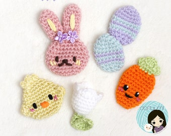 Little Holiday Appliqués: Hoppy Easter Collection Crochet Pattern ~ Bunny, Chick, Carrot, Flower and Egg Embellishments