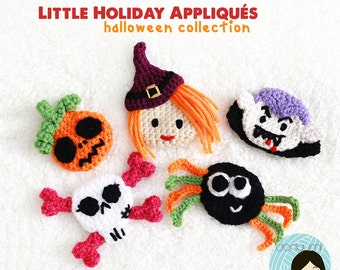 Little Holiday Appliques: Halloween Collection Crochet Pattern ~ Vampire, Witch, Skull, Spider, Pumpkin Embellishments
