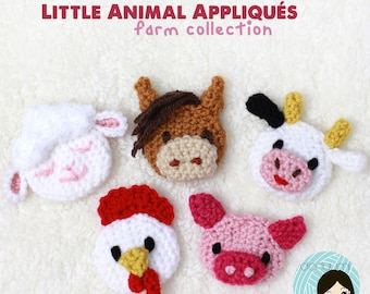 Little Animal Appliqués: Farm Collection Crochet Pattern ~ Lamb, Horse, Cow, Chicken and Pig Embellishments