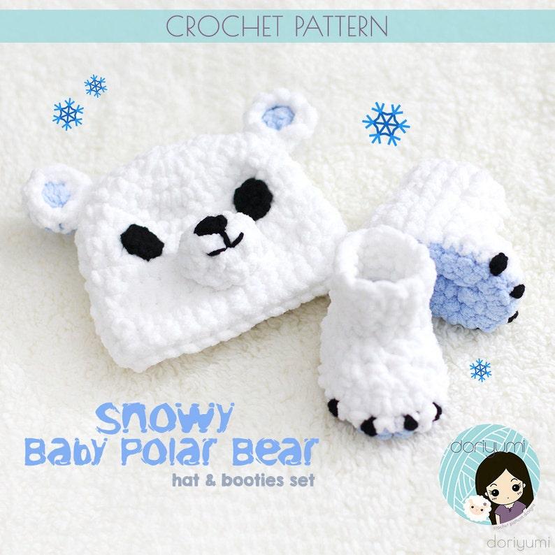 bca435bbc58 Snowy the Baby Polar Bear Hat   Booties Set Crochet Pattern