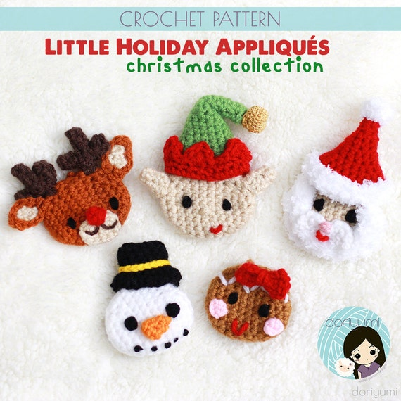 Little Holiday Appliques: Christmas Collection Crochet Pattern | Etsy