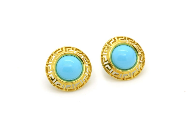 f945fadf8 Round Turquoise Earrings Stud Turquoise Earrings 14K Solid | Etsy