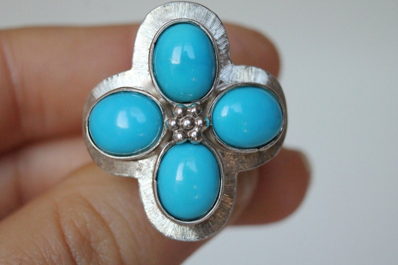 Unique piece Silver Band Ring with Turquoises Maxi ring with flowerethnic design No nickel Original design Handmade