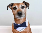 Custom wedding dog outfit, personalised dog, Dog wedding attire, best dog bandana, Dog bow tie, pet wedding guest, Navy and white